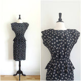Black rose print peplum dress