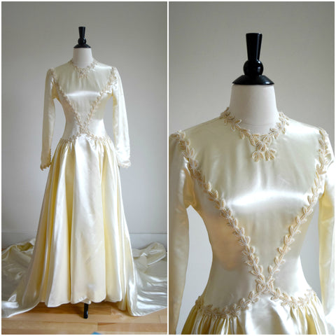 1930's satin long sleeve wedding gown with beaded embellishment