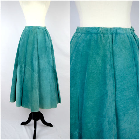 Southwestern teal suede leather skirt