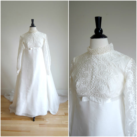 1960's embroidered daisies bohemian long sleeved wedding gown