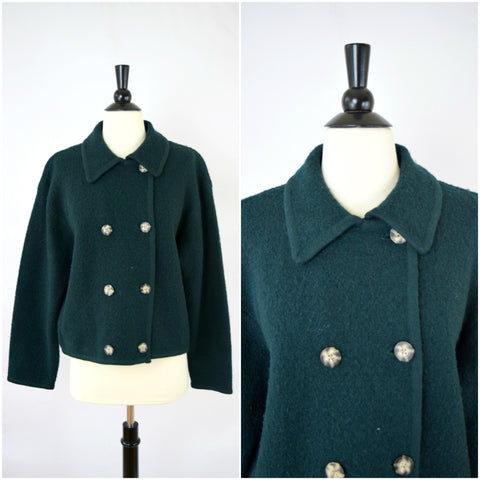 Green boiled wool double breasted jacket