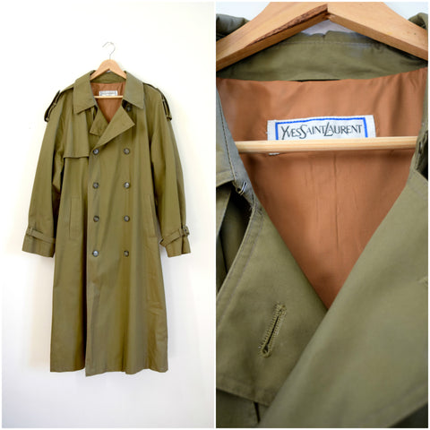 Mens Yves Saint Laurent menswear taupe trench coat