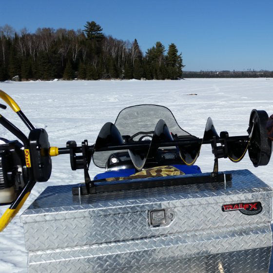 Homemade ice auger rack for snowmobile cosmecol for Ice fishing snowmobile