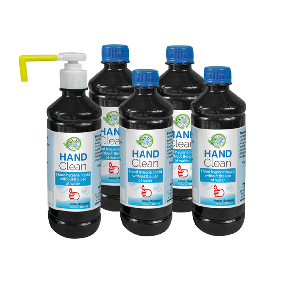 Alcohol para manos HAND CLEAN, 5 x 500 ml.