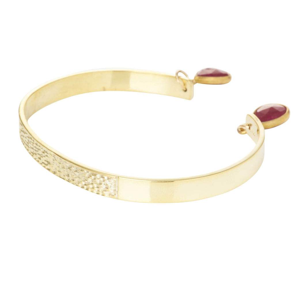 Textured Bangle with Gemstones