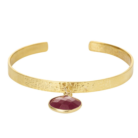 Textured Bangle with Large Gemstone