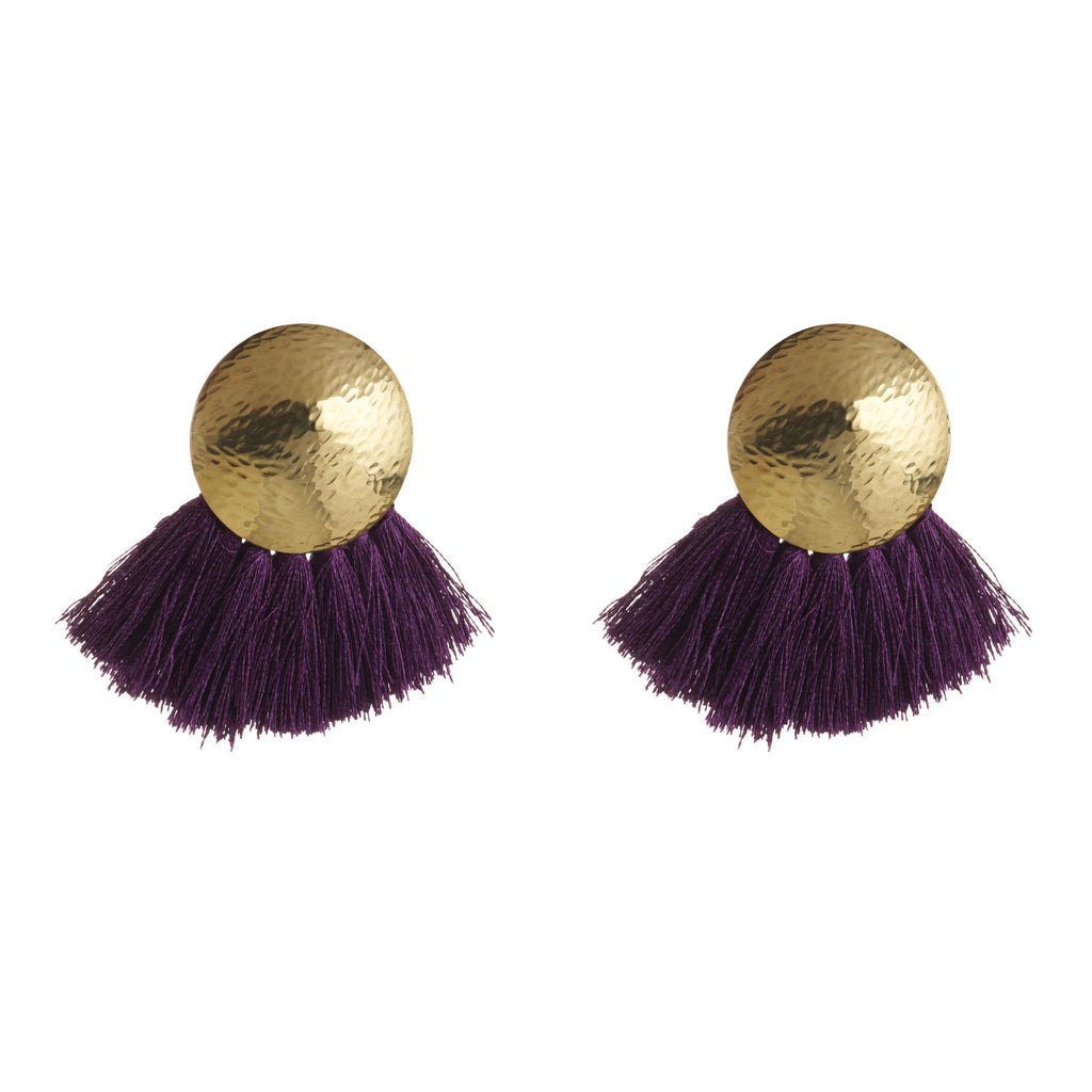 Amy Concave Dome Stud With Tassel