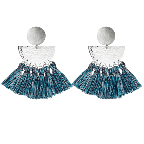 Riveted Sunrise Studs with Tassels