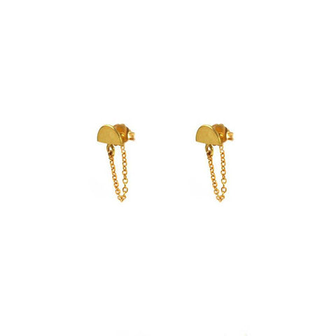 Gold Small Half Moon Studs with Tail