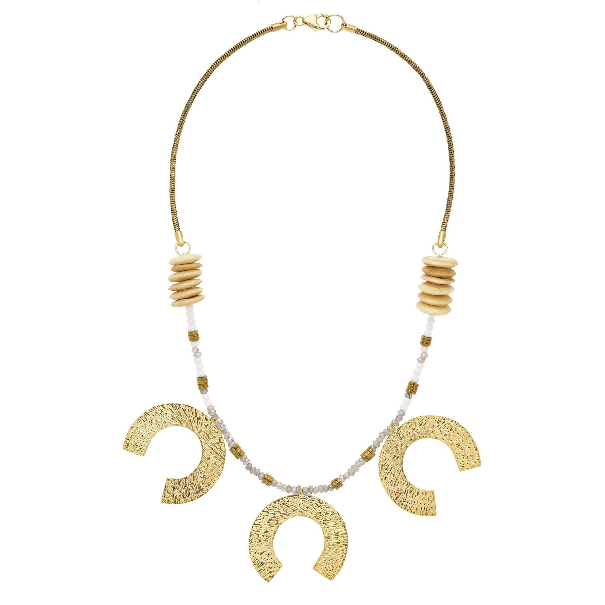 board on gold pearl plated duty tres perla necklace tier free