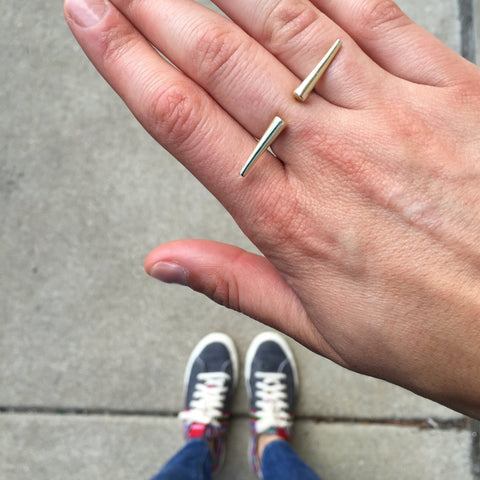Double Spike Knuckle Ring