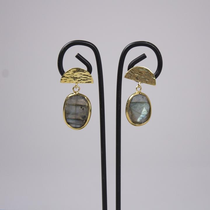 *NEW* Labradorite Thumbprint Studs