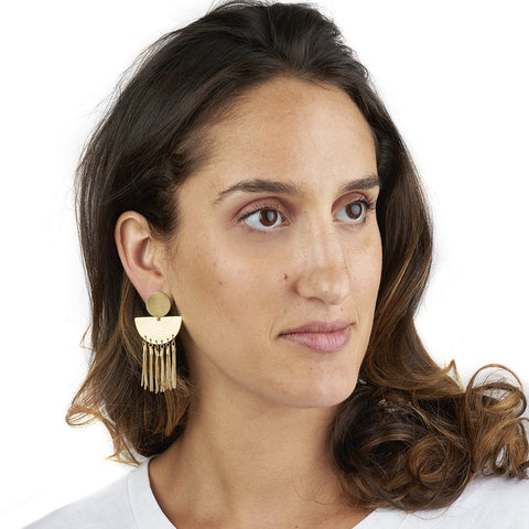 Riveted Sunrise Studs with Box Chain Tassels