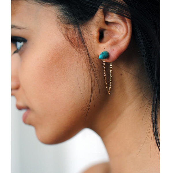 Turquoise Cone Stud with Tail