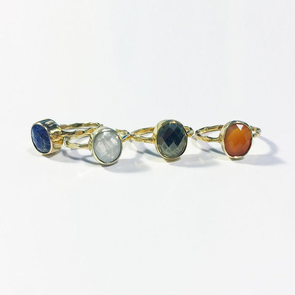 Oval Faceted Stack Ring