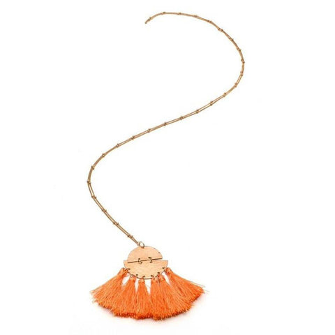 Half Moon Necklace with Tassels
