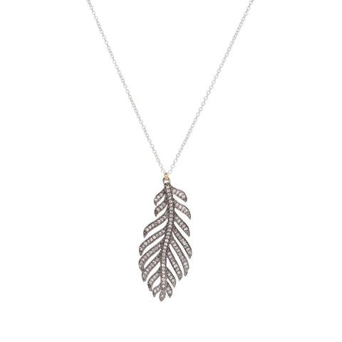 Feather White Topaz Charm Necklace