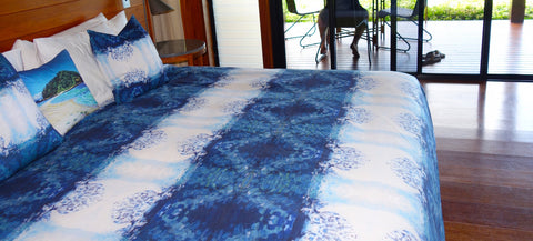 Our Duvet and Cushions designed from one of my paintings of Migaloo