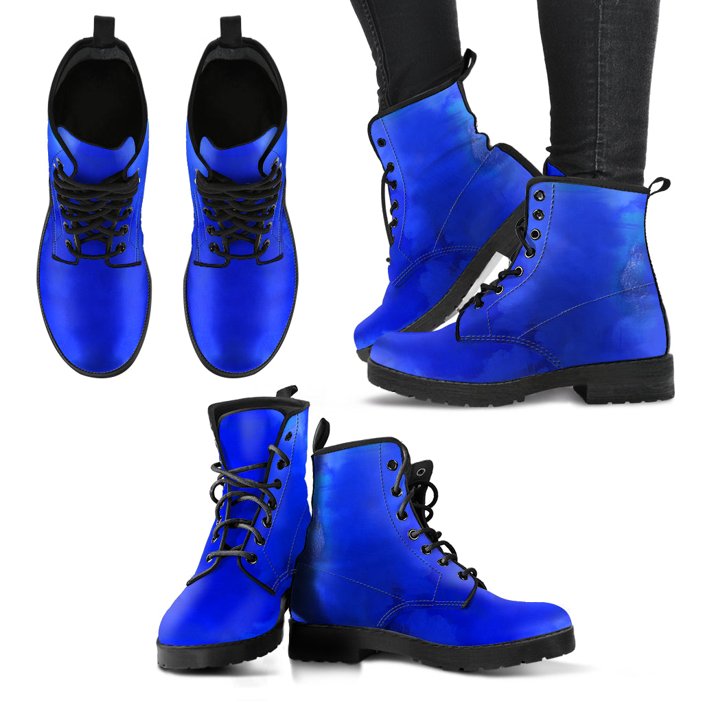 Blue Royale Vegan Leather Boots | Aqua Burns
