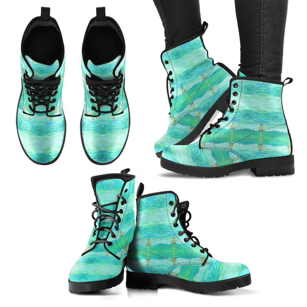 A Sea Green Vegan Leather Boots