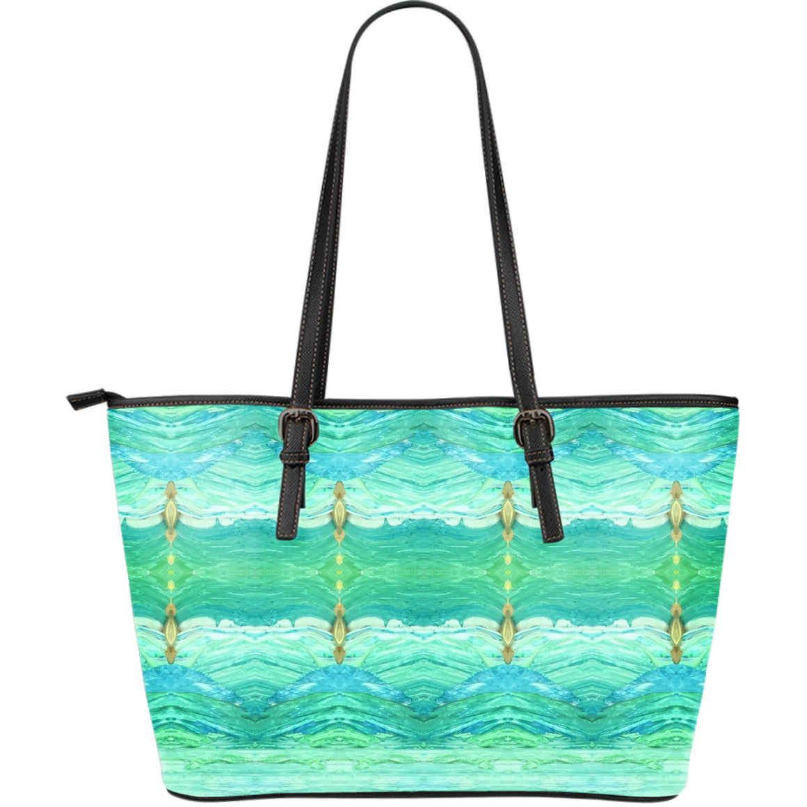 A Sea Green Leather Tote Large