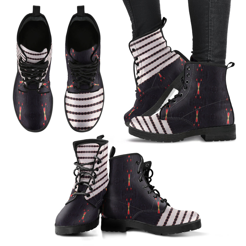 Red Sun Darkness Stripes Vegan Leather Boots
