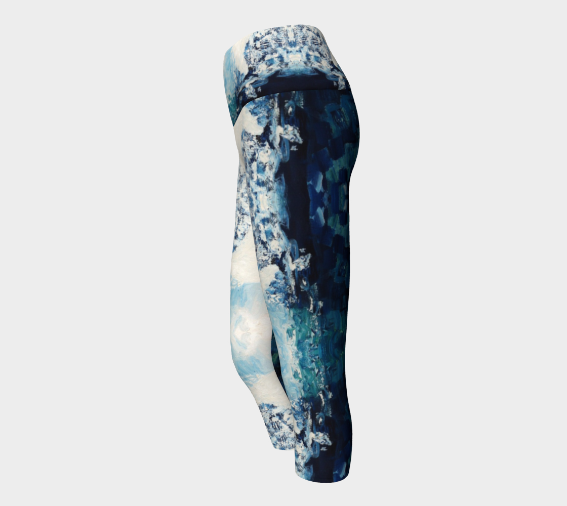 White And Blue Fluke Pregnancy Capris Yoga Leggings