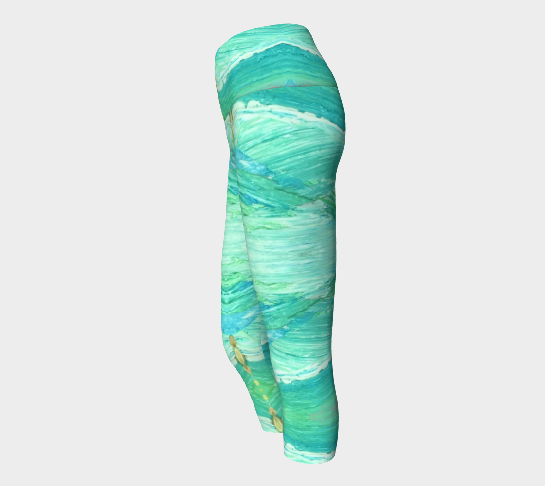 A Sea Green Pregnancy Capri Yoga Leggings