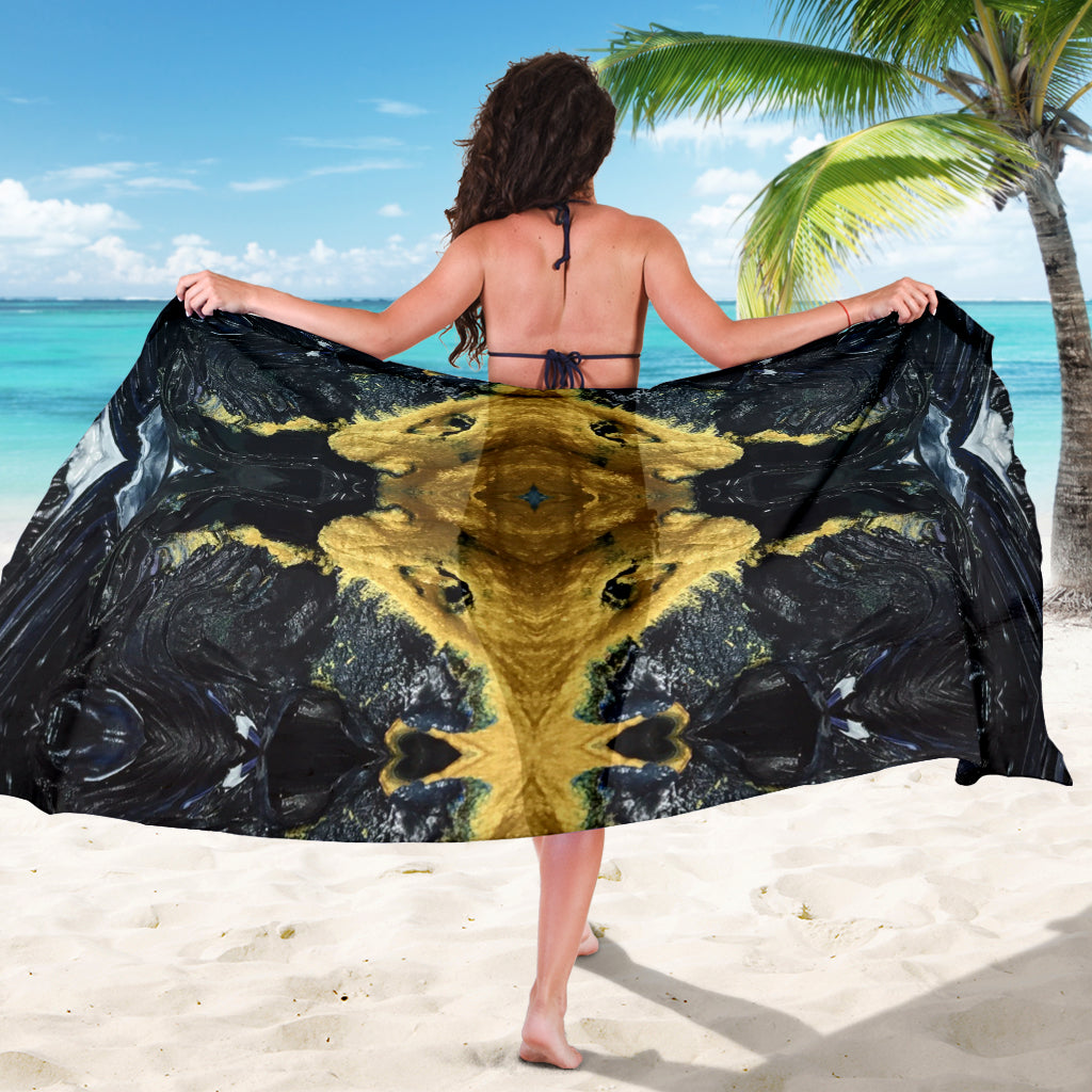 Black and Gold Scarf Sarong | Aqua Burns