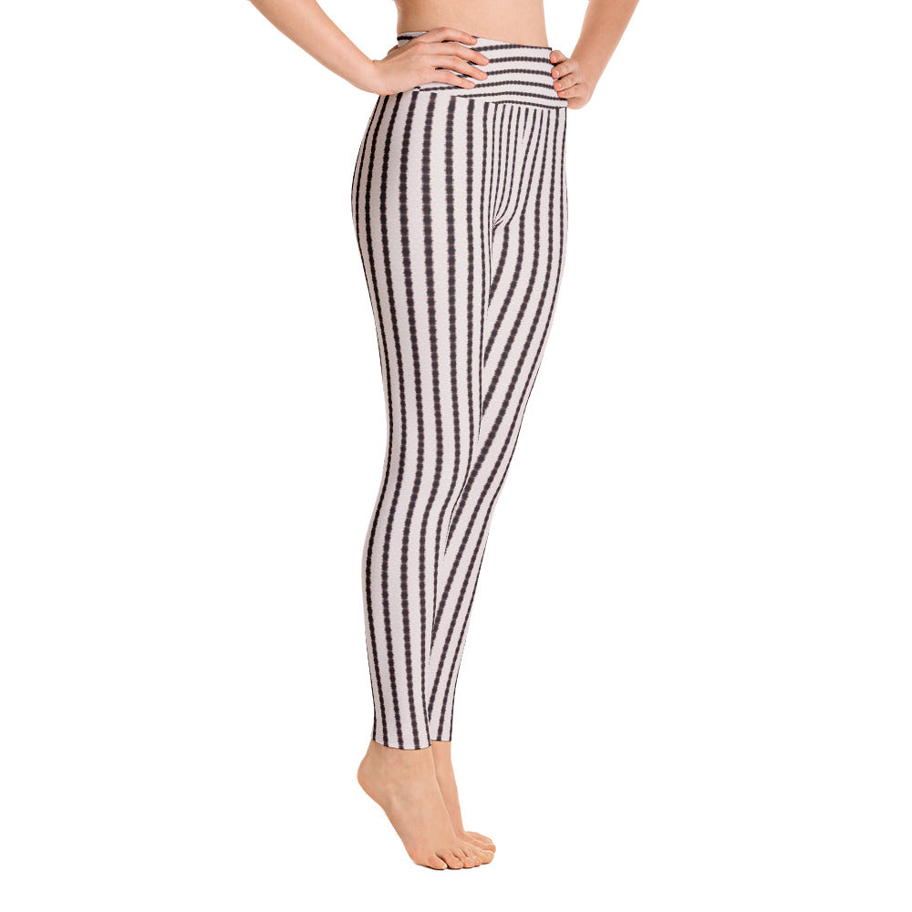 Black and White Stripe Yoga Leggings | Aqua Burns