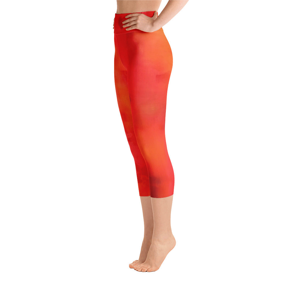 Red Love Yoga Capri Leggings