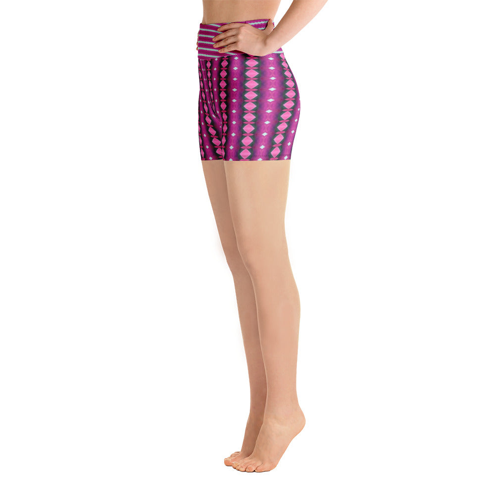 Plum Stripe Yoga Shorts