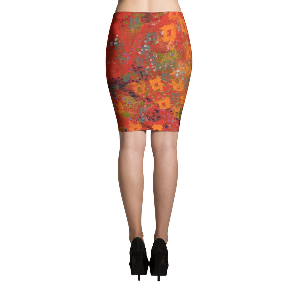 Red Desert Pencil Skirt | Aqua Burns