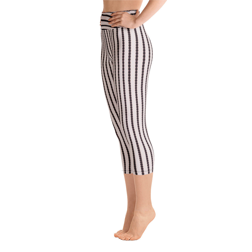 Black and White Stripe Yoga Capri Leggings