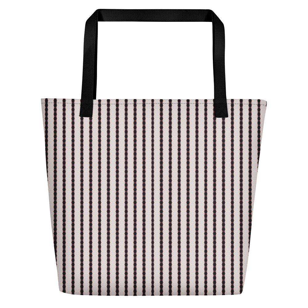 Black and White Stripe Beach Bag | Aqua Burns