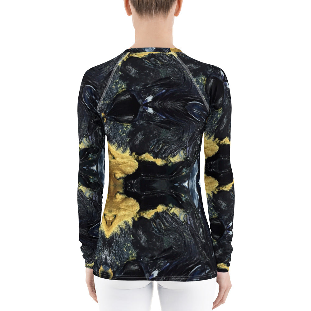 Black and Gold Women's Rash Guard