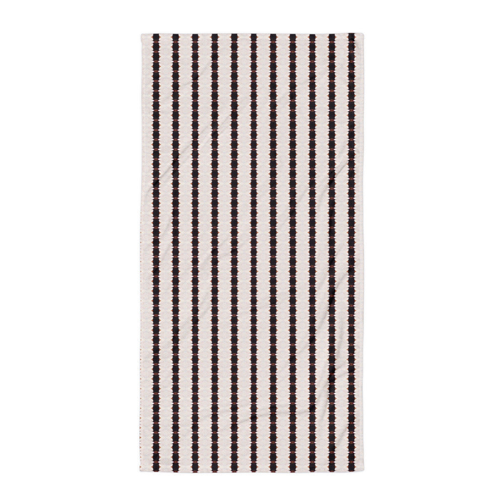 Black and White Stripe Towel Aqua Burns
