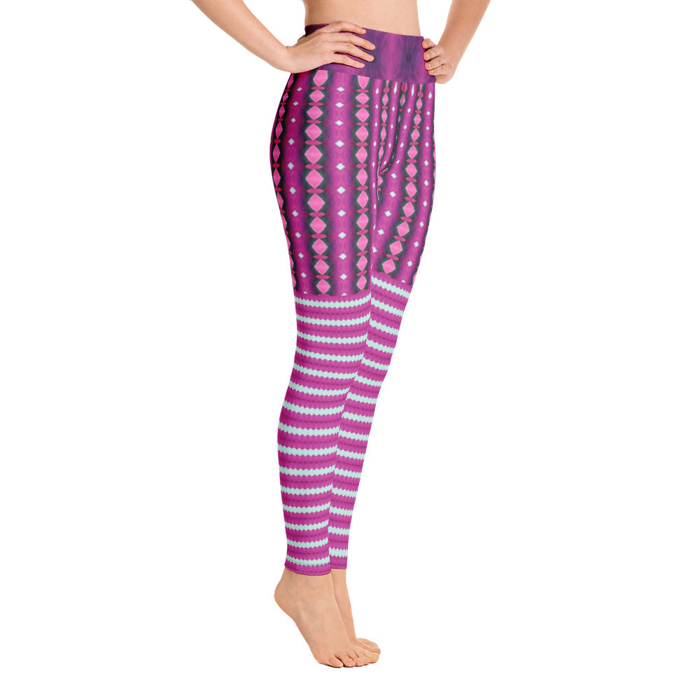 Plum Stripe Yoga Leggings