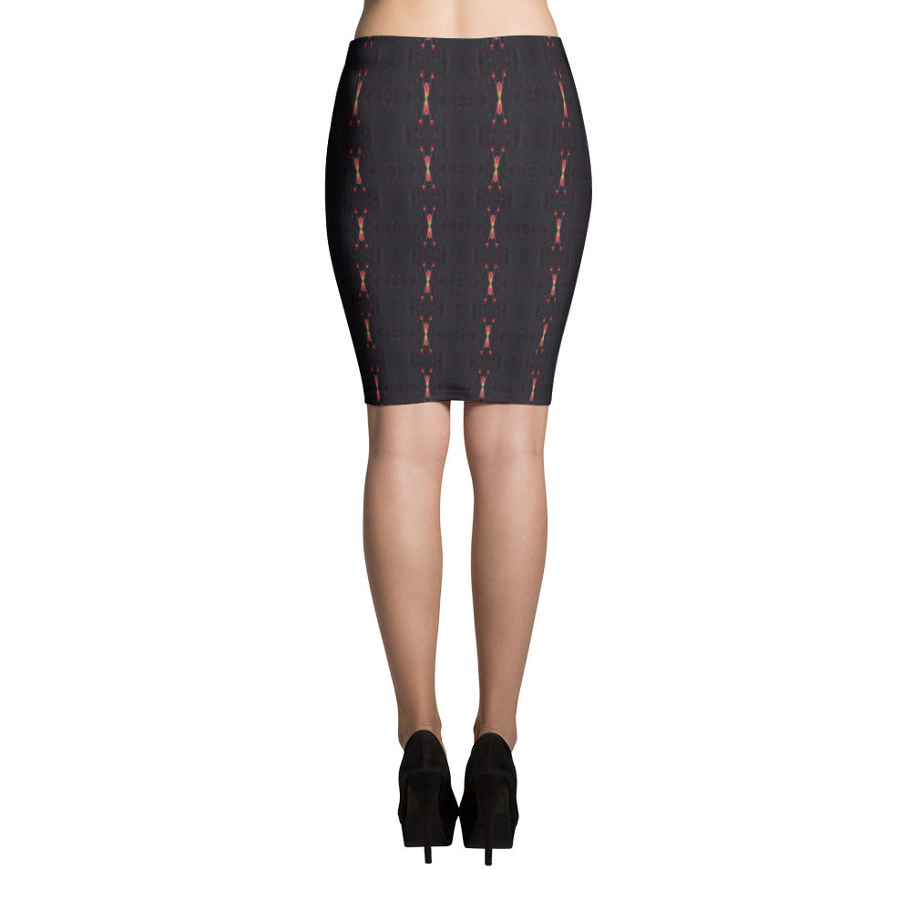 Red Sun Darkness Pencil Skirt | Aqua Burns