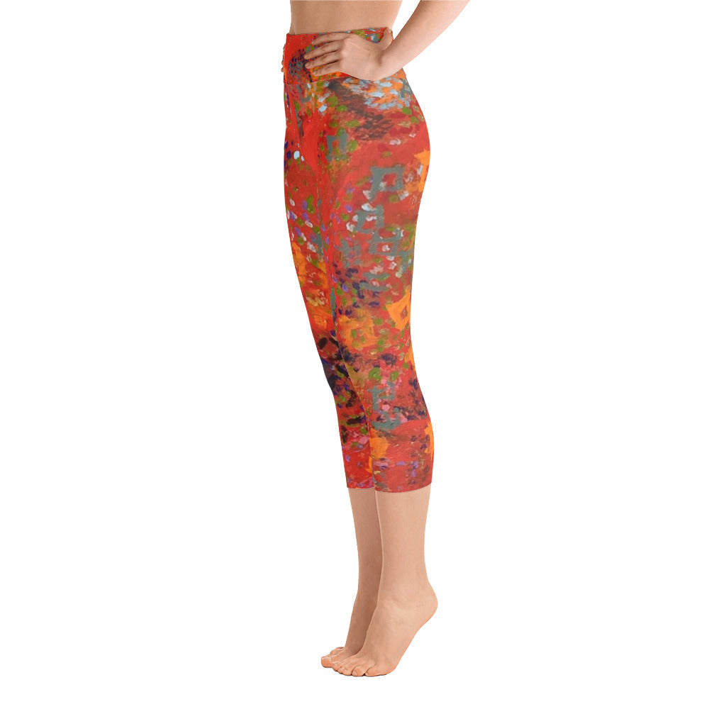 Red Desert Yoga Capri Leggings | Aqua Burns