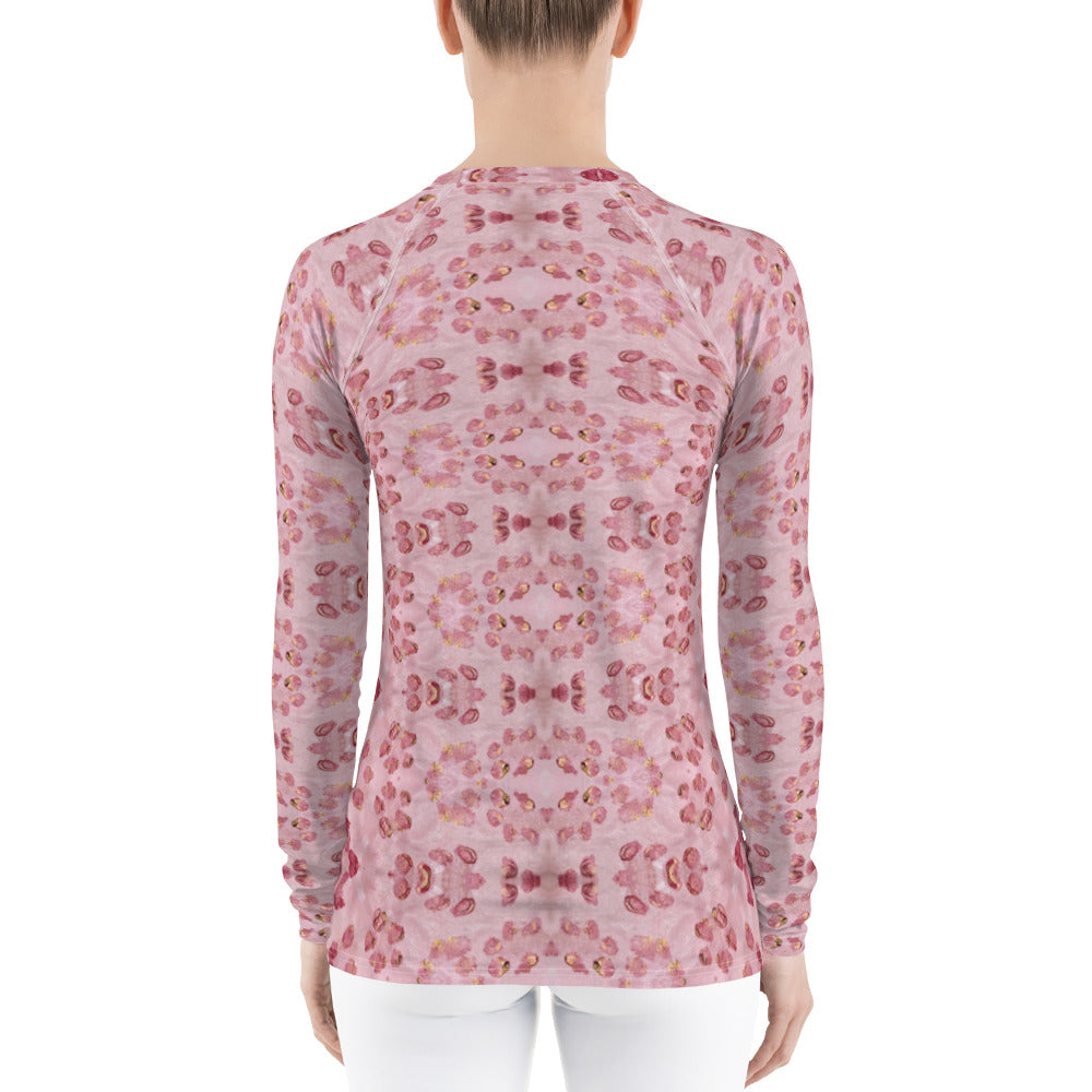 Pink Animal Print Women's Rash Guard