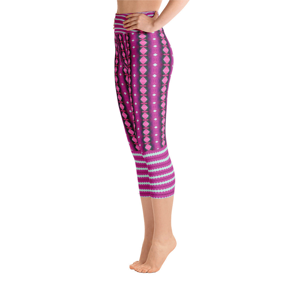 Plum Stripe Yoga Capri Leggings