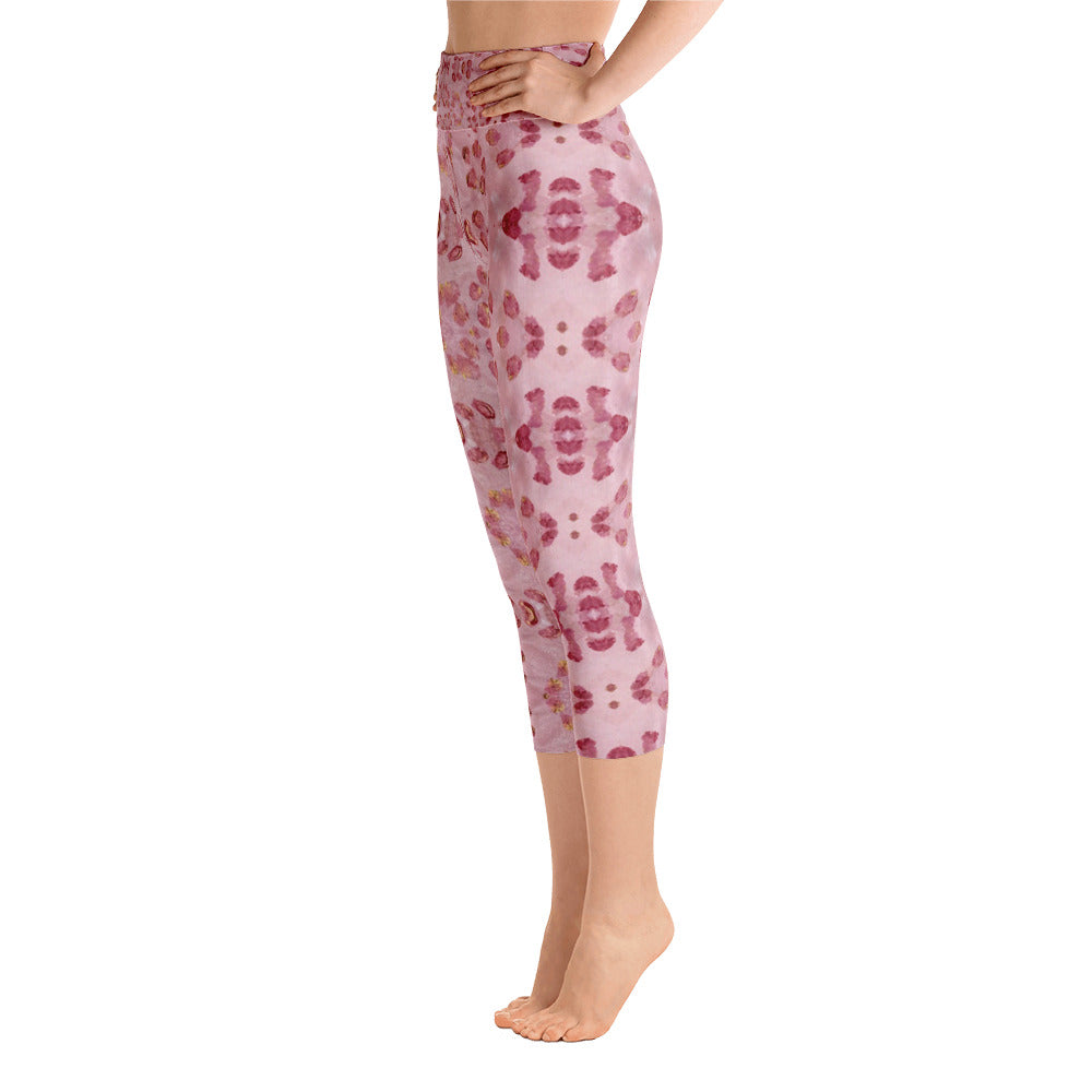 Pink Animal Print Yoga Capri Leggings