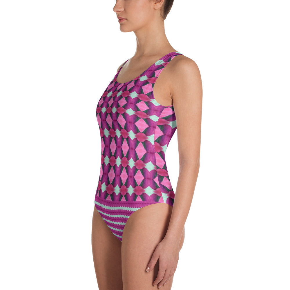 Plum Stripe Leotard/Swimsuit