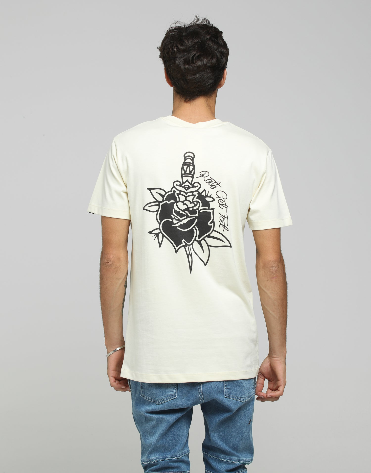 Rats Get Fat Rose & Dagger Tee Cream