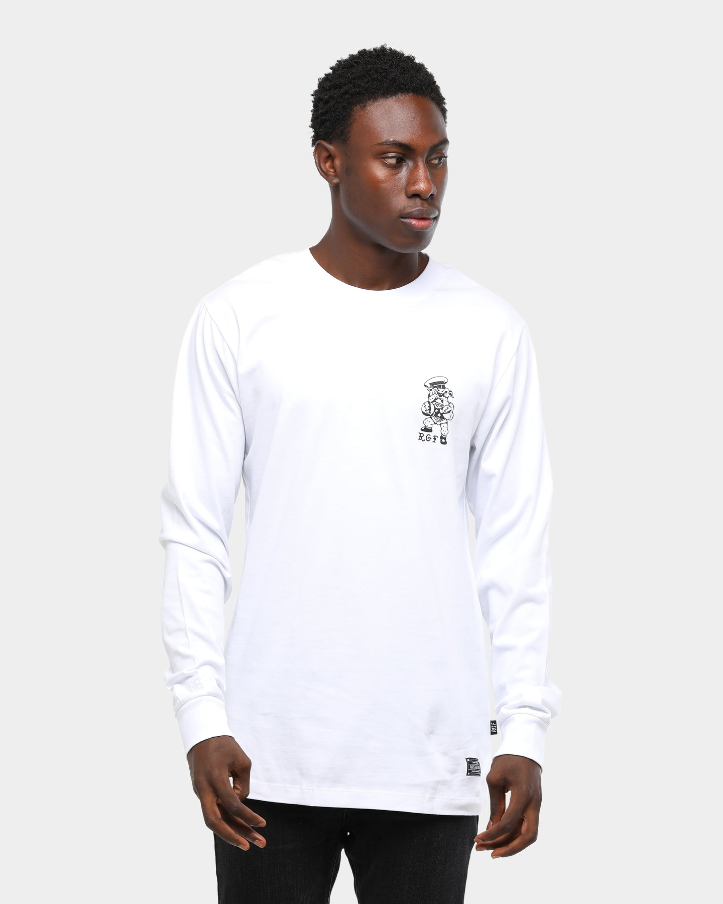Rats Get Fat Get Em Up LS Tee White