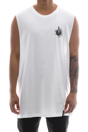ROSE & DAGGER MUSCLE TEE - White