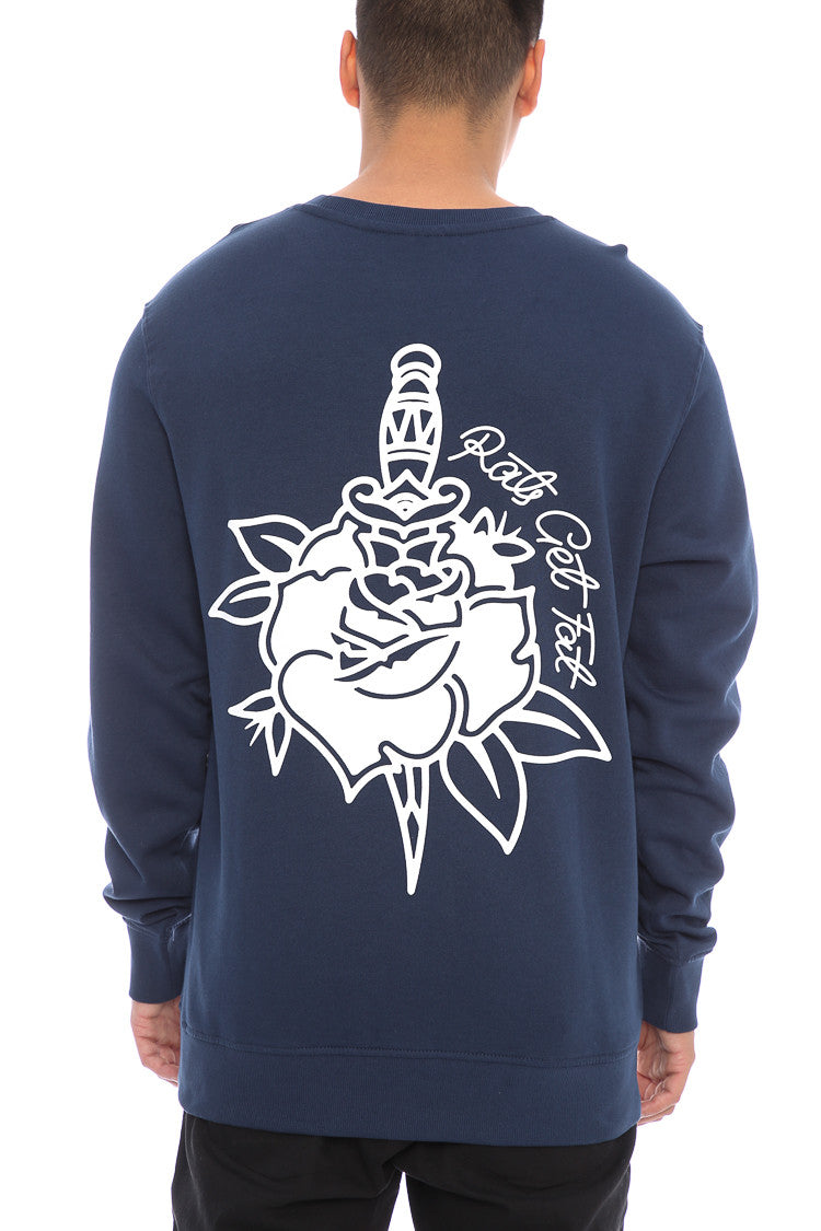 ROSE & DAGGER CREWNECK - Navy