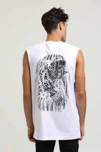 RGF X AJ KOI FISH MUSCLE TEE - White