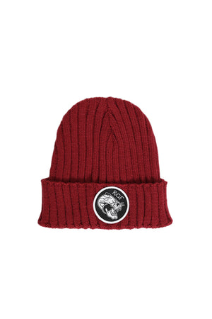 PANTHER FISHERMAN BEANIE - Burgundy